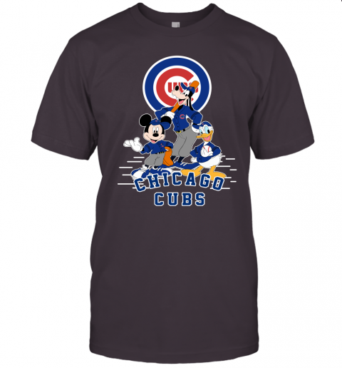 uwlt chicago cubs mickey donald and goofy baseball jersey t shirt 60 front dark grey