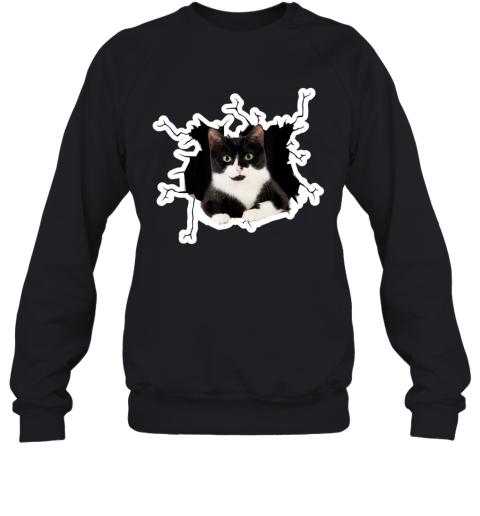 Tuxedo Cat Crack Hole Tuxedo Cat Ripper Torn Halloween gift Sweatshirt