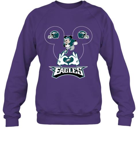 msjg i love the eagles mickey mouse philadelphia eagles sweatshirt 35 front purple